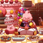alien ambiguous_gender blush bowl cake candy cape chocolate clothing cookie crossover cute doughnut dragon_ball dragon_ball_z duo eyes_closed food happy humanoid kirby kirby_(series) majin majin_buu male muffin nintendo pink_skin plate sitting smile straw unknown_artist video_games waddling_head