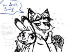 2017 alcohol anthro beer beverage blush bottle canine clothed clothing dialogue disney drunk duo english_text female fox gideon_grey holding_bottle holding_object inkyfrog judy_hopps lagomorph male mammal open_mouth open_smile pointing rabbit restricted_palette simple_background smile text white_background zootopiaRating: SafeScore: 1User: JAKXXX3Date: March 27, 2017