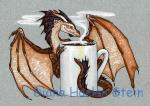 beverage blue_eyes brown_scales coffee cup dhstein dragon feral grey_background horn membranous_wings scales simple_background solo steam wingsRating: SafeScore: 7User: ClawstripeDate: September 21, 2017