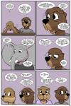 2017 anthro beaver buckteeth clothed clothing comic dialogue elephant english_text eyewear female glasses lisa_(study_partners) male mammal mustelid open_mouth otter ragdoll_(study_partners) rodent sarah_(study_partners) speech_bubble study_partners teeth text thunderouserections trunk tusks young