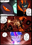 battle cloak clothing comic crown duo equine feral floating friendship_is_magic gem glowing glowing_eyes hair horn magic mammal metal_(artist) my_little_pony sparkles twilight_sparkle_(mlp) unicornRating: SafeScore: 0User: IndigoHeatDate: March 25, 2017