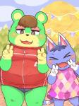 2018 4_fingers 5_fingers :3 >_< animal_crossing anthro bear belly biped black_nose blue_fur blue_hair blue_tail blush breasts brown_eyes brown_hair cat charlise_(animal_crossing) clothed clothing cloud digital_drawing_(artwork) digital_media_(artwork) dipstick_ears dotted_background double_v_sign dress duo eyelashes eyes_closed eyeshadow fangs feline female flat_chested front_view fur gloves_(marking) green_fur hair half-closed_eyes hi_res kemono long_tail makeup mammal markings multicolored_fur muzzle_(marking) nintendo open_mouth open_smile outside overweight overweight_female panties pattern_background pine_tree pink_clothing portrait rantan_chan red_clothing rosie_(animal_crossing) shadow short_hair simple_background sky slightly_chubby small_breasts smile standing striped_tail stripes sweat sweatdrop thick_thighs three-quarter_portrait tracksuit tree two_tone_fur two_tone_tail underwear v_sign video_games white_fur white_tail x3 yellow_furRating: SafeScore: 1User: DiceLovesBeingBlownDate: June 25, 2018