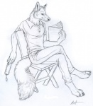 4_toes 5_fingers anthro barefoot belt black_and_white book bookmark canine chair claws clothed clothing crossed_legs digitigrade dipstick_ears fluffy fluffy_tail fully_clothed fur holding_book holding_object inner_ear_fluff looking_aside male mammal monochrome pants polo_shirt raiven rukis shirt simple_background sitting sketch solo toes white_background wolf