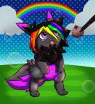 2017 alternate_color canine digital_media_(artwork) eevee fan_character female feral fur hair hi_res mammal nintendo open_mouth pen pokepuff pokémon rainbow raven_eevee raveneevee simple_background solo standing video_games