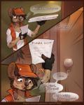 2017 ? anthro beard canine cigarette clothed clothing comic dialogue digital_media_(artwork) door english_text f-r95 facial_hair food fur gloves hair hat hyena male mammal open_mouth outside paper pizza smoking solo spots textRating: SafeScore: 14User: MillcoreDate: June 21, 2017