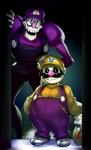 animated_skeleton blue_eyes bone clothing cosplay facial_hair mario_bros mustache nintendo overalls papyrus_(undertale) sans_(undertale) simple_background skeleton straw undead undertale video_games voodoothur waluigi wario