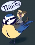 ambiguous_gender anthro avian bell_collar bird blue_feathers blue_tit briskby cat collar derp_eyes duo english_text feathers feline humor innuendo mammal pun riding siamese simple_background straddling text tit_(bird) yelling yellow_feathersRating: SafeScore: 152User: ktkrDate: February 06, 2011
