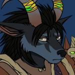 2015 anthro armor black_fur black_hair blue_background blue_fur canine clothed clothing conditional_dnp fan_character female fur green_eyes hair horn horn_ring looking_at_viewer mammal multicolored_fur paralee_(character) portrait ratte reaction_image simple_background solo two_tone_fur unimpressed video_games warcraft were werewolf worgen