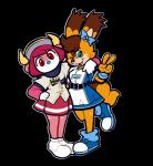 2017 :3 alpha_channel arm_warmers armband armwear baseball_(sport) baseball_cap belt bovine brown_hair buffalo buffalo_bell clothed clothing duo green_eyes group hair hair_bow hair_ribbon hair_tuft hat hokkaido_nippon-ham_fighters horn looking_at_viewer mammal mangneto mascot nippon_professional_baseball one_eye_closed orix_buffaloes peace_sign_(disambiguation) pink_hair polly_polaris red_eyes ribbons rodent scarf simple_background skirt smile sport squirrel transparent_background uniform winkRating: SafeScore: 1User: GomenNe3939Date: March 26, 2017
