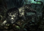 daniel_ljunggren feline feral forest fur lion looking_at_viewer magic_the_gathering male mammal mane official_art plant quadruped stalking striped_fur stripes tree
