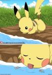 comic drinking drinking_water eyes_closed grass hi_res lake licking male mammal nintendo outside patreon pikachu pokémon pokémon_(species) rodent sipping tongue tongue_out video_games water winick-lim