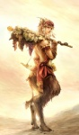 armband beige_skin blonde_hair brown_fur food fruit fur grapes hair hi_res holding_object hooves horn looking_aside looking_at_viewer male onei-akira satyr side_view solo staff