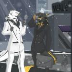 anthro briefcase cane cigar duo fur hat male outside puccaruu sergal smile snow standing teethRating: SafeScore: 3User: Cat-in-FlightDate: February 25, 2017