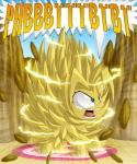 berrypawnch dragon_ball dragon_ball_z equine fan_character fluffle_puff hi_res horse lighting mammal my_little_pony parody pony power reaction_image rock screaming solo super_saiyan text
