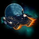 beard car clothing devil_horns f-body facial_hair fire gandalf gesture hat headlights human humor inside_car magic_user male mammal mike_mitchell moon not_furry pontiac robe space vehicle