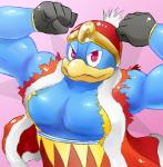 absurd_res anthro avian barazoku beak biceps bird close-up clothing flexing gloves half-closed_eyes hat headgear hi_res king king_dedede kirby:_star_allies kirby_(series) looking_at_viewer male manly muscular nintendo pecs penguin ramseykaid royalty smile solo triceps video_games