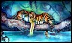 ambiguous_gender eyes_closed feline lying mammal pearleden solo stripes tiger tree water woodRating: SafeScore: 3User: DogenzakaDate: August 08, 2009