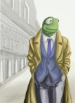 amphibian anthro anthrofied clothed clothing coat frog front_view fully_clothed green_skin hands_in_pockets kermit_the_frog looking_aside low_res male muppets necktie outside pants portrait solo spot_color suit three-quarter_portrait unknown_artistRating: SafeScore: 4User: mandarinDate: January 16, 2010