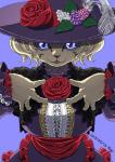 2015 :3 anthro berry big_breasts black_nose bob_cut breasts cat clothed clothing digital_media_(artwork) dress feathers feline female flower food front_view fruit fully_clothed fur hair hand_on_chest kemono lace leaf long_sleeves looking_at_viewer mammal nogi open_mouth plant purple_background purple_clothing purple_dress purple_eyes purple_hat purple_theme red_tongue rose short_hair signature simple_background slit_pupils smile solo standing tan_fur tan_hair tongueRating: SafeScore: 4User: SchuppoDate: June 24, 2017