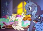 2018 baby bed bedroom blue_hair blush crown cute cute_fangs cutie_mark detailed_background dragon dsana equine eyelashes eyes_closed eyeshadow fangs feathered_wings feathers female feral friendship_is_magic frown group hair happy horn inside laugh lying makeup male mammal mascara multicolored_hair my_little_pony nude on_back open_mouth open_smile pillow princess_celestia_(mlp) princess_luna_(mlp) sibling signature sisters smile sparkles spike_(mlp) standing star teal_eyes teeth tickling tongue unamused window winged_unicorn wings young