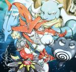 amphibian blastoise breath_of_the_wild cephalopod crossover fish frog marine nintendo octillery octopus pokéball pokémon poliwrath reptile scalie seadra seahorse sidon_(zelda) starmie the_legend_of_zelda turtle video_games water zora モチ=ゴーメ閣下_(artist)