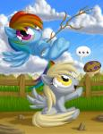 amber_eyes berrypawnch blonde_hair blue_feathers blue_fur cloud cutie_mark derpy_hooves_(mlp) duo equine feathered_wings feathers female feral friendship_is_magic fur grass grey_fur hair long_hair looking_at_viewer lying mammal multicolored_hair my_little_pony on_back open_mouth outside pegasus purple_eyes rainbow_dash_(mlp) rainbow_hair sitting sky smile stick string tongue wings yellow_eyes
