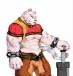 anthro armor blue_eyes bracers clothed clothing dust_yang feline fur grimoire_of_zero hi_res mammal melee_weapon mercenary_(character) midriff muscular nipples scar simple_background solo striped_fur stripes sword tiger weapon white_background white_fur