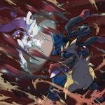 absurd_res ambiguous_gender black_fur blue_fur canine duo fight fur hi_res legendary_pokémon mammal mega_evolution mega_lucario mega_mewtwo mega_mewtwo_y nintendo official_art pokémon pokémon_(species) red_eyes spikes video_games yellow_fur