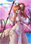 2018 anthro black_nose breasts canine cleavage clothed clothing cloud digital_media_(artwork) female green_eyes hair hi_res holding_object holding_weapon loincloth long_hair mammal melee_weapon midriff navel outside polearm skimpy sky smile solo spear strapless_bra teranen tree tribal weaponRating: SafeScore: 89User: ultragamer89Date: March 31, 2018