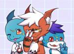 2017 ahmadkniam blue_hair claws cute digimon dragon eyewear fan_character giramon glasses guilmon hair hi_res hybrid lizard looking_at_viewer male open_mouth red_eyes reptile scalie silver_hair simple_background smile sol_(character) sol_the_guilmon sven_(character) sven_the_giramon tongue tongue_out vee4eva veemon vmon yami_(character) yami_the_veemon yellow_eyes