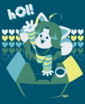 4_ears <3 anthro beverage box cardboard_box cup female food fur mammal monster multi_ear niteo solo tem temmie_(undertale) text undertale video_games white_fur
