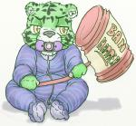 anthro baby ban clothed clothing cub digital_media_(artwork) drooling feline lavilovi male mammal pacifier saliva simple_background solo stripes tiger white_background young