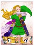 alderion-al blonde_hair blue_eyes comic duo eyes_closed female hair happy hi_res hug humanoid hylian link male nintendo not_furry ocarina_of_time princess princess_zelda royalty smile surprise the_legend_of_zelda video_games