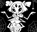 arachnid arthropod blush fangs female humanoid itimu looking_at_viewer monochrome muffet multi_eye multi_limb pigtails solo spider undertale video_games