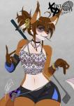 anthro canine clothed clothing cover cover_page eyewear female fox golf_club lazydez looking_at_viewer mammal one_eye_closed smile solo sunglasses wide_hips