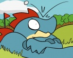 2016 aliasing angry anthro ball cloud day digital_media_(artwork) feraligatr flag frown golf golf_ball grass male nintendo outside pokémon reptile scalie sky solo toony tree trout_(artist) video_games