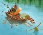 anthro boat bottomless canine clothed clothing fish fishing fishing_pole fox fur mammal marine mustelid oar orange_fur otter panic reflection vehicle water weremagnus