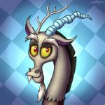 2017 absurd_res digital_media_(artwork) discord_(mlp) draconequus friendship_is_magic hi_res looking_at_viewer male my_little_pony pattern_background red_eyes setharu simple_background soloRating: SafeScore: 3User: lemongrabDate: February 18, 2018