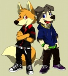 4_fingers anthro belt big_head black_nose blue_eyes canine cel_shading clothed clothing converse crossed_arms dipstick_tail dog drawstring duo footwear fox fully_clothed fur grey_fur hi_res hoodie lobotalow looking_at_viewer male mammal multicolored_tail open_mouth open_smile orange_fur pants pose red_eyes shirt shoes smile sneakers standing sweater teeth tongue toony wristwatch