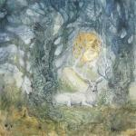 2017 antlers cervine dead_tree detailed_background feral forest fur grass horn looking_at_viewer lying male mammal outside portrait solo stephanie_law sun traditional_media_(artwork) tree watercolor_(artwork) white_fur