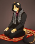 5_fingers anthro barefoot black_hair black_suit black_tie claws clothed clothing crying digital_media_(artwork) emir eyes_closed facial_hair feline fully_clothed fur goatee hair hand_on_leg islamic jacket jailbird lion male mammal necktie pants prayer_rug praying religion scarf shirt sitting solo suit tail_tuft tears tuft