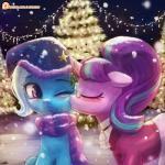 2016 blue_hair blush christmas christmas_lights christmas_tree clothing equine eyebrows eyelashes eyes_closed eyewear female friendship_is_magic glasses hair hat holidays horn kissing lumineko mammal mistletoe multicolored_hair my_little_pony night night_sky one_eye_closed outside plant purple_eyes scarf sitting snow snowing star starlight_glimmer_(mlp) tree trixie_(mlp) two_tone_hair unicorn winter