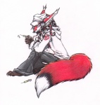 + anthro arm_on_leg barefoot bent_legs big_tail biped black_claws black_hair black_markings black_tail brown_skin canine claws clothed clothing colored_pencil_(artwork) dipstick_tail dreadlocks ear_tuft fluffy fluffy_tail fox full-length_portrait fur grey_pants hair hat highlights holding_object hoodie inner_ear_fluff lapfox_trax long_hair looking_at_viewer male mammal marker_(artwork) markings mixed_media multicolored_tail nurse pen_(artwork) portrait red_ears red_eyes red_fur red_tail renard_queenston shirt_logo shukketsu-kokoro side_view simple_background sitting smile snout solo striped_fur striped_tentacles stripes syringe tentacle_hair tentacles traditional_media_(artwork) tuft white_background white_highlights white_markings white_shirt white_tail