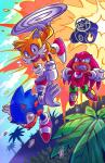 2017 absurd_res anthro canine clothing cloud cmyknova dipstick_tail dizzy dr._eggman echidna explosion footwear fox fur gloves group hedgehog hi_res human knuckles_the_echidna male mammal miles_prower monotreme multicolored_tail open_mouth outside sonic_(series) sonic_the_hedgehog spikes sweat teeth tree video_games white_fur yellow_fur