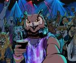 alcohol ambiguous_gender anthro armpit_hair avian beverage billmund bird camera_view canine cervine clothed clothing creatures_of_the_night dancing deer detailed_background feline female first_person_view fox group headphones headphones_around_neck hi_res inside lagomorph leopard male mammal nightclub owl rabbit selfie smile snow_leopard standing sweatRating: SafeScore: 1User: BooruHitomiDate: September 21, 2017