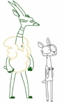 ambiguous_gender antelope anthro antlers cervine deer disney duo eyewear fan_character glasses hooves horn male mammal simple_background size_difference sweat the_weaver the_weaver_(character) white_background zootopia