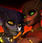 3d_(artwork) demon digital_media_(artwork) duo ezria female green_sclera horn humanoid jessica_anner scales smile succubus xelthia yellow_sclera