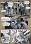 2016 angry anon bald bare_chest clothed clothing comic dialogue duo earth_pony english_text equine female feral fight friendship_is_magic fur green_eyes grey_fur hair hi_res horse human male mammal maud_pie_(mlp) mine monochrome muscular muscular_male my_little_pony pencils_(artist) pony purple_hair rock text
