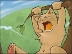 4:3 anthro barefoot branch chest_tuft cub cute dangling day eyes_closed fangs front_view gaping_mouth grass green_bell kemono low_res male navel nude open_mouth outside paws sky solo tongue tree tuft yawn youngRating: SafeScore: 2User: The Dog In Your GuitarDate: March 25, 2007