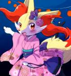bag blue_background blush bow braixen chinese_lantern clothing cute_fangs female floral_print flower japanese_clothing kimono looking_at_viewer nintendo open_mouth pink_kimono plant pointing pokémon pokémon_(species) purple_bow raised_arm red_eyes simple_background smile solo unknown_artist video_games